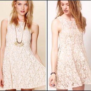 Free People ivory white lace mini dress sleeveless